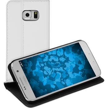 Kunst-Lederhülle für Samsung Galaxy S7 Book-Case weiß + 2 Schutzfolien