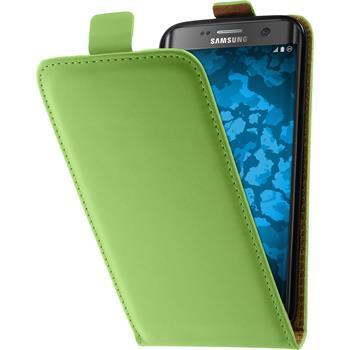 Kunst-Lederhülle für Samsung Galaxy S7 Edge Flip-Case grün + 2 Schutzfolien
