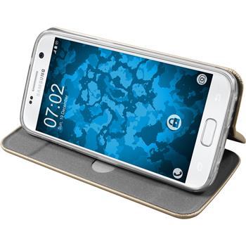 Kunst-Lederhülle Galaxy S7 Etui gold