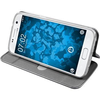 Kunst-Lederhülle Galaxy S7 Etui grau