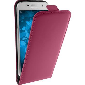 Kunst-Lederhülle Galaxy S7 Flip-Case pink + 2 Schutzfolien