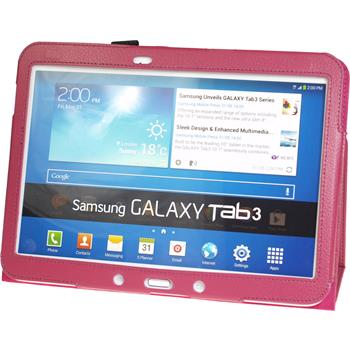 Artificial Leather Case for Samsung Galaxy Tab 3 10.1 Wallet hot pink