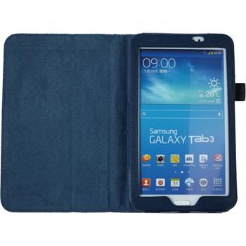 Artificial Leather Case for Samsung Galaxy Tab 3 7.0 Wallet blue