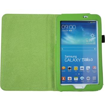 Kunst-Lederhülle für Samsung Galaxy Tab 3 7.0 Wallet grün + 2 Schutzfolien