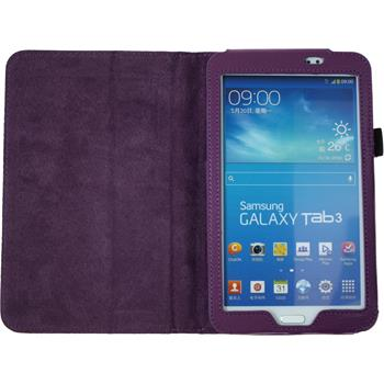 Artificial Leather Case for Samsung Galaxy Tab 3 7.0 Wallet purple