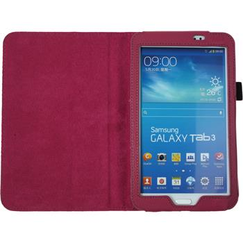 Artificial Leather Case for Samsung Galaxy Tab 3 7.0 Wallet hot pink