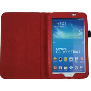 Artificial Leather Case for Samsung Galaxy Tab 3 7.0 Wallet red