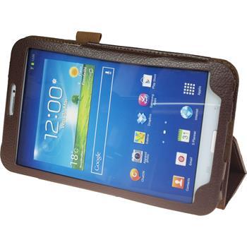 Kunst-Lederhülle für Samsung Galaxy Tab 3 8.0 Wallet blau + 2 Schutzfolien