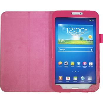 Artificial Leather Case for Samsung Galaxy Tab 3 8.0 Wallet hot pink
