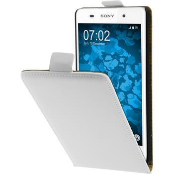 Kunst-Lederhülle für Sony Xperia E5 Flip-Case weiß + 2 Schutzfolien