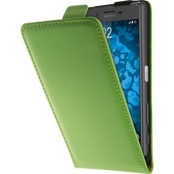 Kunst-Lederhülle für Sony Xperia X Flip-Case grün + 2 Schutzfolien