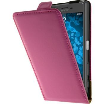 Kunst-Lederhülle Xperia X Flip-Case pink + 2 Schutzfolien
