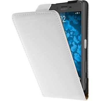 Kunst-Lederhülle für Sony Xperia X Flip-Case weiß + 2 Schutzfolien
