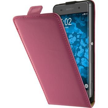 Kunst-Lederhülle Xperia XA Flip-Case pink + 2 Schutzfolien