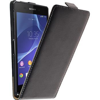 Kunst-Lederhülle für Sony Xperia Z2 Flip-Case schwarz + 2 Schutzfolien