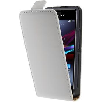 Kunst-Lederhülle Xperia E1 Flip-Case weiß