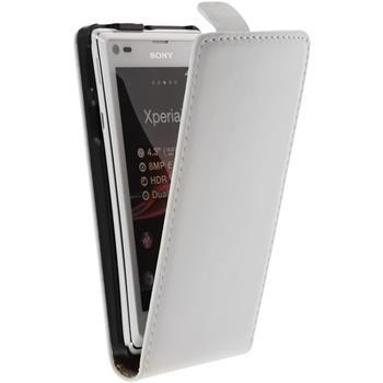 Kunst-Lederhülle für Sony Xperia L Flip-Case weiß + 2 Schutzfolien