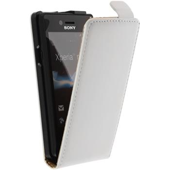 Artificial Leather Case for Sony Xperia miro Flipcase white