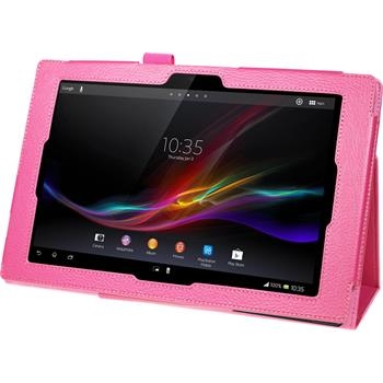Artificial Leather Case for Sony Xperia Tablet Z Premium hot pink