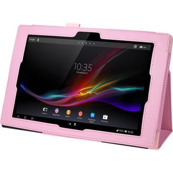 Kunst-Lederhülle für Sony Xperia Tablet Z Premium rosa + 2 Schutzfolien