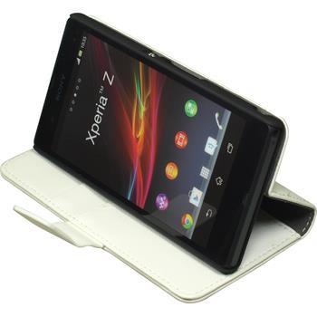 Kunst-Lederhülle für Sony Xperia Z Wallet weiß + 2 Schutzfolien