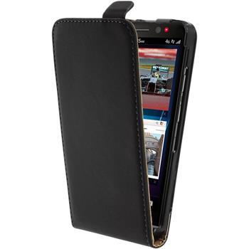 Kunst-Lederhülle für BlackBerry Z30 Flip-Case schwarz + 2 Schutzfolien