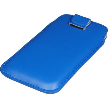 Artificial Leather Case for HTC One X Bag blue