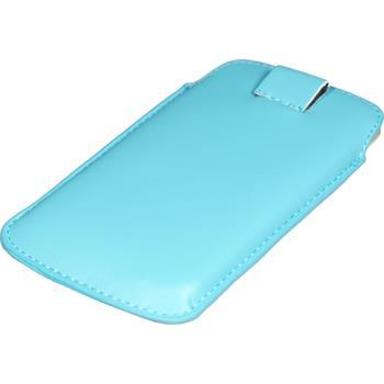Kunst-Lederhülle für HTC Sensation XL Tasche hellblau + 2 Schutzfolien