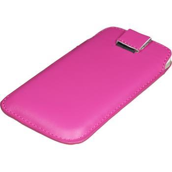 Kunst-Lederhülle Optimus 4X HD P880 Tasche pink + 2 Schutzfolien