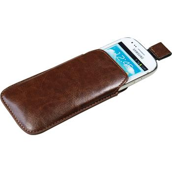 Artificial Leather Case for Samsung Galaxy S3 Mini Bag brown