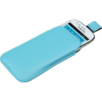 Artificial Leather Case for Samsung Galaxy S3 Mini Bag light blue