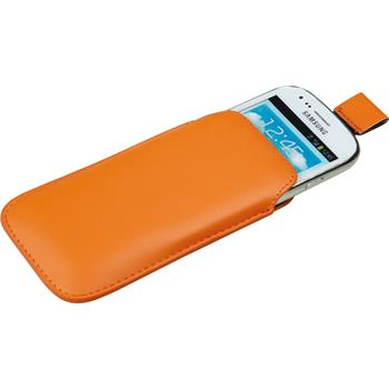 Artificial Leather Case for Samsung Galaxy S3 Mini Bag orange
