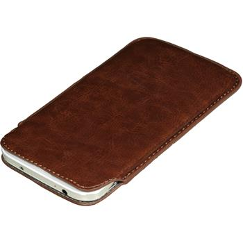 Kunst-Lederhülle Galaxy S4 Tasche braun