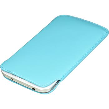 Artificial Leather Case for Samsung Galaxy S4 Bag light blue