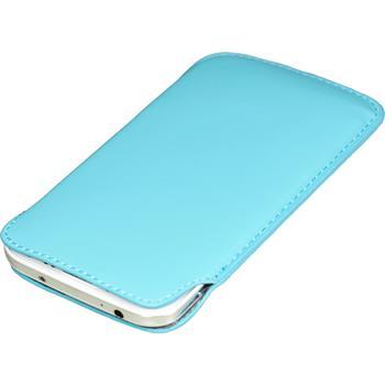 Kunst-Lederhülle Galaxy S4 Tasche hellblau