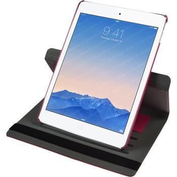 Kunst-Lederhülle für Apple iPad Air 2 360° pink + 2 Schutzfolien