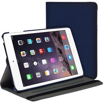 Kunst-Lederhülle iPad Mini 3 2 1 360° Stoffoptik blau