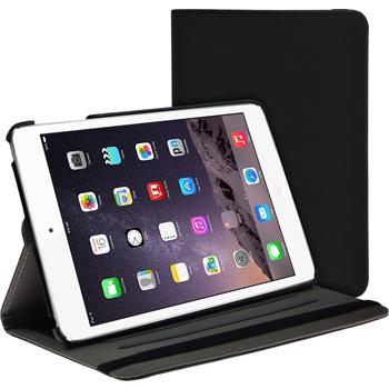 Kunst-Lederhülle iPad Mini 3 2 1 360° Stoffoptik schwarz + 2 Schutzfolien