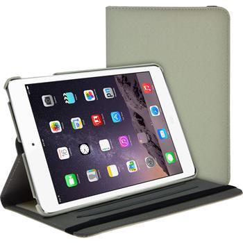Kunst-Lederhülle für Apple iPad Mini 3 2 1 360° Stoffoptik weiß + 2 Schutzfolien