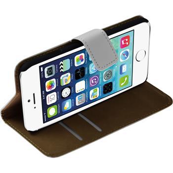 Kunst-Lederhülle für Apple iPhone 6s / 6 Wallet weiß + 2 Schutzfolien