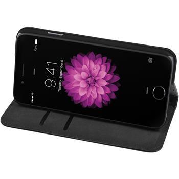 Kunst-Lederhülle iPhone 6s / 6 Book-Case schwarz + 2 Schutzfolien