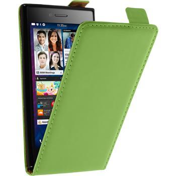 Kunst-Lederhülle für BlackBerry Leap Flip-Case grün + 2 Schutzfolien