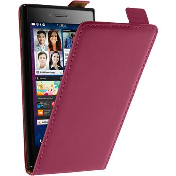 Kunst-Lederhülle für BlackBerry Leap Flip-Case pink + 2 Schutzfolien