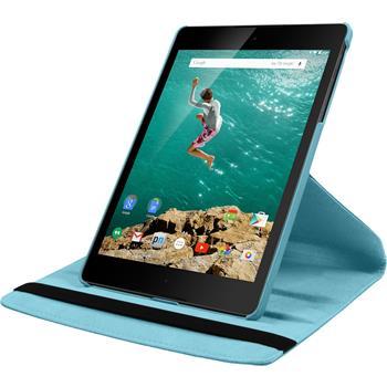 Kunst-Lederhülle HTC Nexus 9 360° hellblau + 2 Schutzfolien