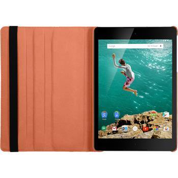 Kunst-Lederhülle HTC Nexus 9 360° orange + 2 Schutzfolien