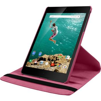 Artificial Leather Case for Google HTC Nexus 9 360° hot pink