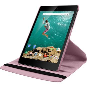 Kunst-Lederhülle HTC Nexus 9 360° rosa + 2 Schutzfolien