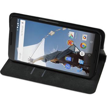 Kunst-Lederhülle für Google Nexus 6 Book-Case weiß + 2 Schutzfolien