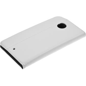 Kunst-Lederhülle Nexus 6 Book-Case weiß + 2 Schutzfolien