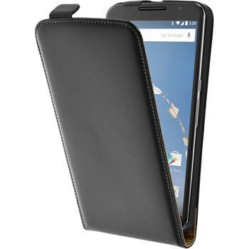 Kunst-Lederhülle Nexus 6 Flip-Case schwarz